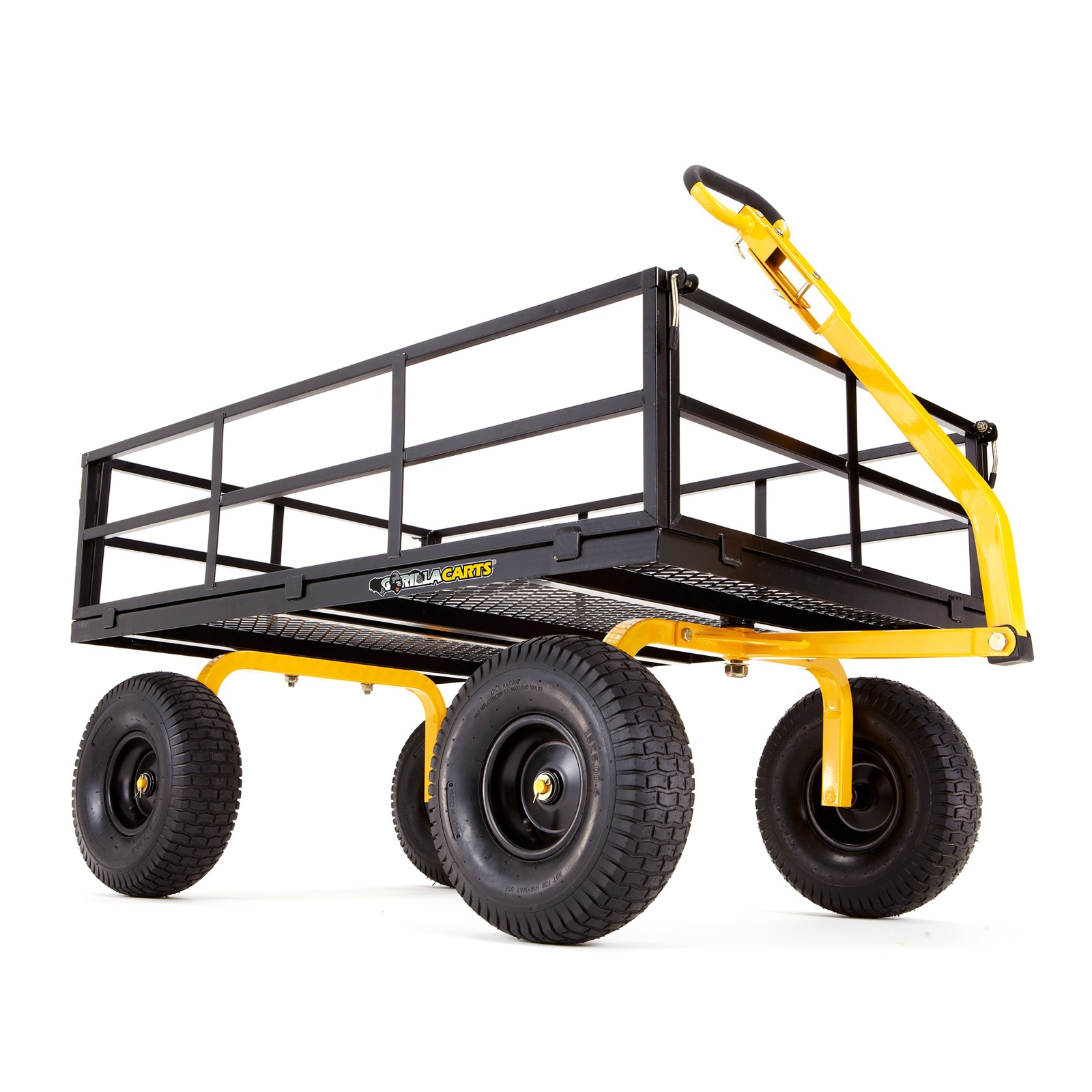 Utility Cart 1,200 lb Heavy Duty Steel Removable Side Panels Convertible Handle